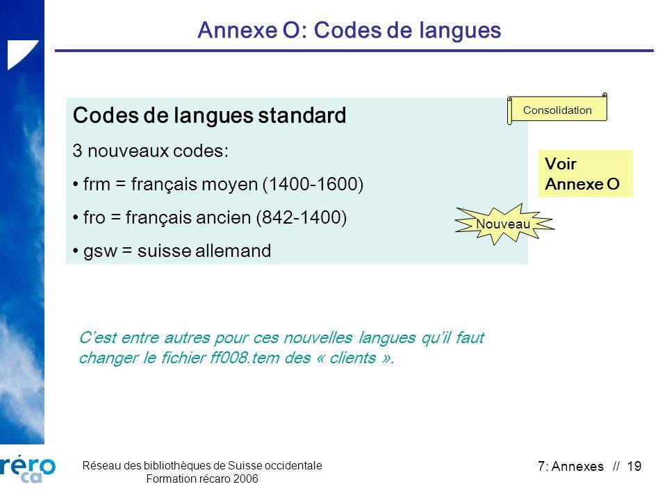 Réseau des bibliothèques de Suisse occidentale Formation récaro 2006 7: Annexes // 19 Annexe O: Codes de langues Codes de langues standard 3 nouveaux