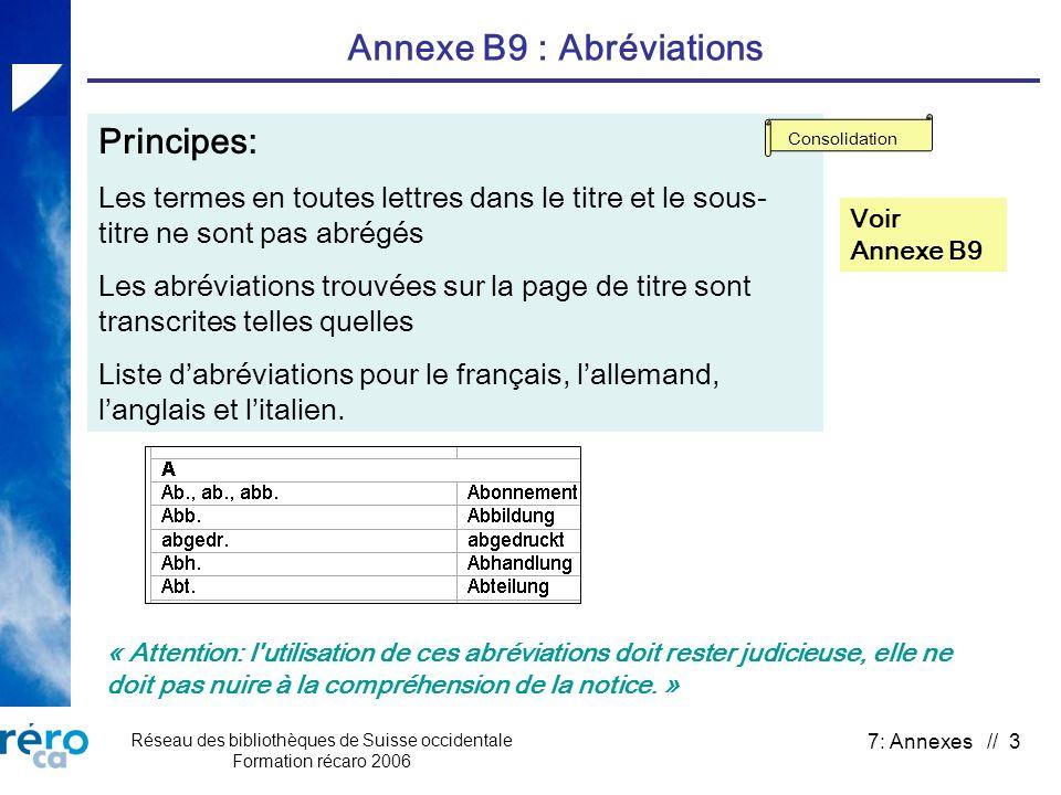 Réseau des bibliothèques de Suisse occidentale Formation récaro 2006 7: Annexes // 3 Annexe B9 : Abréviations Principes: Les termes en toutes lettres