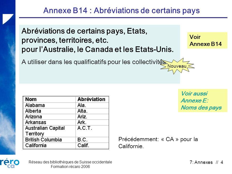 Réseau des bibliothèques de Suisse occidentale Formation récaro 2006 7: Annexes // 4 Annexe B14 : Abréviations de certains pays Abréviations de certai