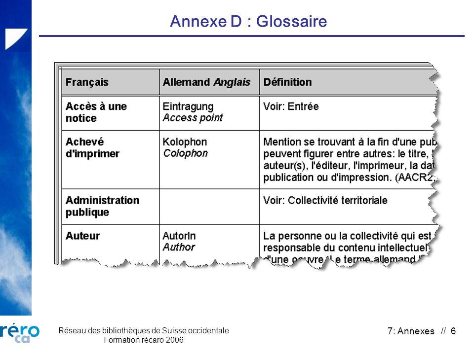 Réseau des bibliothèques de Suisse occidentale Formation récaro 2006 7: Annexes // 6 Annexe D : Glossaire
