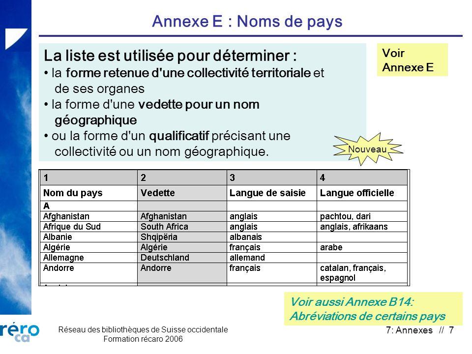 Réseau des bibliothèques de Suisse occidentale Formation récaro 2006 7: Annexes // 7 Annexe E : Noms de pays Voir Annexe E La liste est utilisée pour