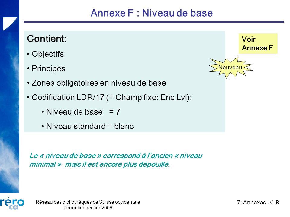 Réseau des bibliothèques de Suisse occidentale Formation récaro 2006 7: Annexes // 8 Annexe F : Niveau de base Contient: Objectifs Principes Zones obl