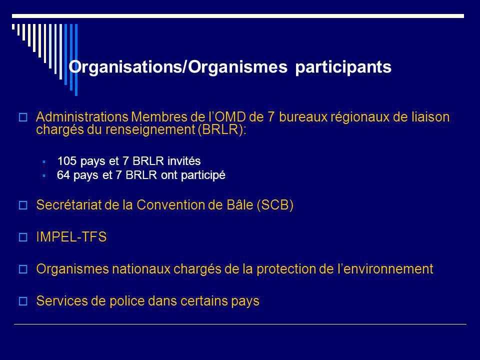 Organisations/Organismes participants Administrations Membres de lOMD de 7 bureaux régionaux de liaison chargés du renseignement (BRLR): 105 pays et 7