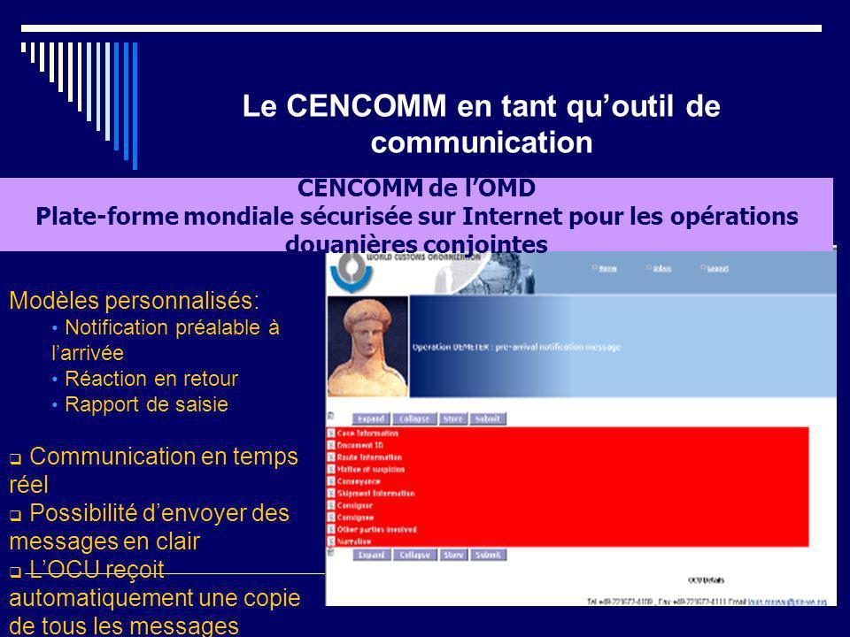 Le CENCOMM en tant quoutil de communication CENCOMM de lOMD Plate-forme mondiale sécurisée sur Internet pour les opérations douanières conjointes Modè