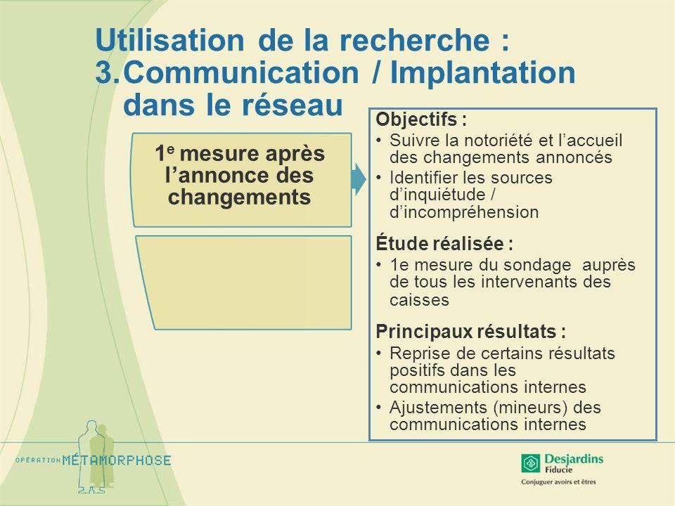Utilisation de la recherche : 3.Communication / Implantation dans le réseau 1 e mesure après lannonce des changements Objectifs : Suivre la notoriété