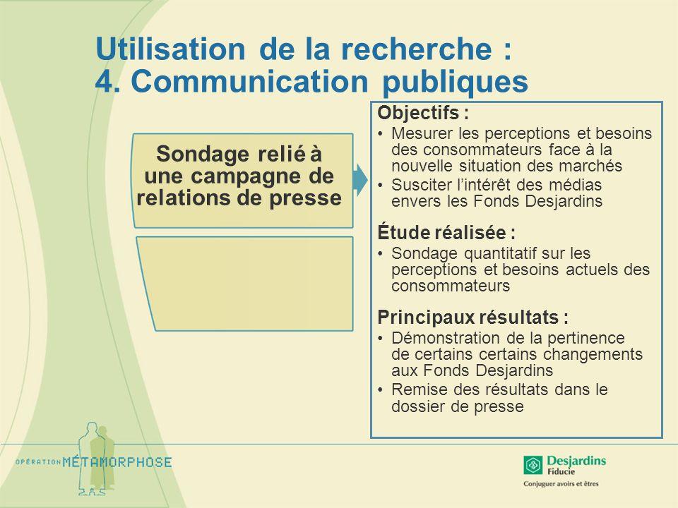 Utilisation de la recherche : 4. Communication publiques Sondage relié à une campagne de relations de presse Objectifs : Mesurer les perceptions et be