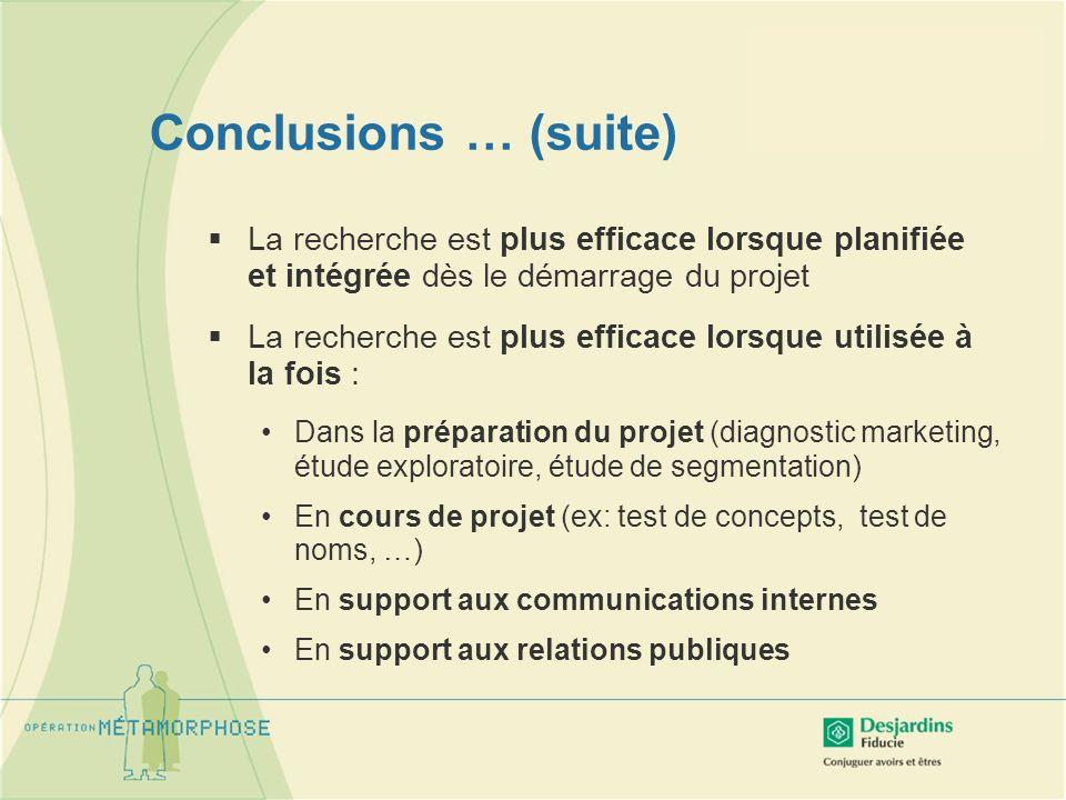Conclusions … (suite) La recherche est plus efficace lorsque planifiée et intégrée dès le démarrage du projet La recherche est plus efficace lorsque u