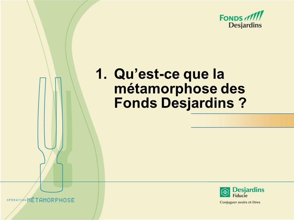 Métamorphose : Opération planifiée de branding et de transformation de la gamme des Fonds Desjardins afin den assurer lessor.