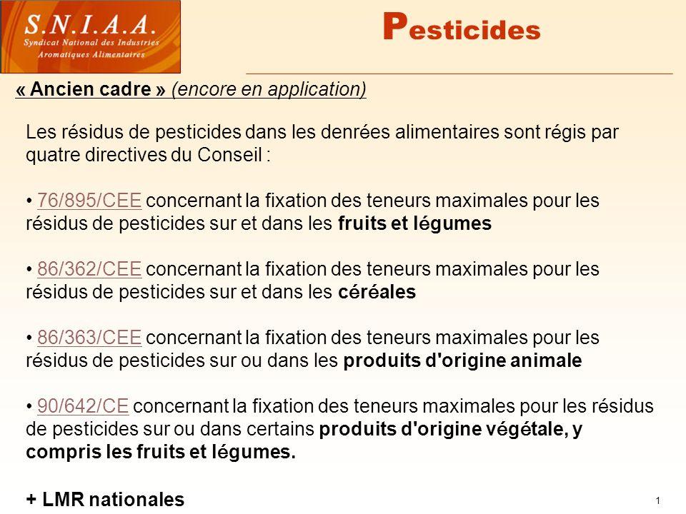 1 P esticides Les r é sidus de pesticides dans les denr é es alimentaires sont r é gis par quatre directives du Conseil : 76/895/CEE concernant la fixation des teneurs maximales pour les r é sidus de pesticides sur et dans les fruits et l é gumes76/895/CEE 86/362/CEE concernant la fixation des teneurs maximales pour les r é sidus de pesticides sur et dans les c é r é ales86/362/CEE 86/363/CEE concernant la fixation des teneurs maximales pour les r é sidus de pesticides sur ou dans les produits d origine animale86/363/CEE 90/642/CE concernant la fixation des teneurs maximales pour les r é sidus de pesticides sur ou dans certains produits d origine v é g é tale, y compris les fruits et l é gumes.90/642/CE « Ancien cadre » (encore en application) + LMR nationales