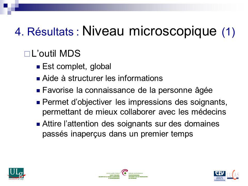 4. Résultats : Niveau microscopique (1) Loutil MDS Est complet, global Aide à structurer les informations Favorise la connaissance de la personne âgée