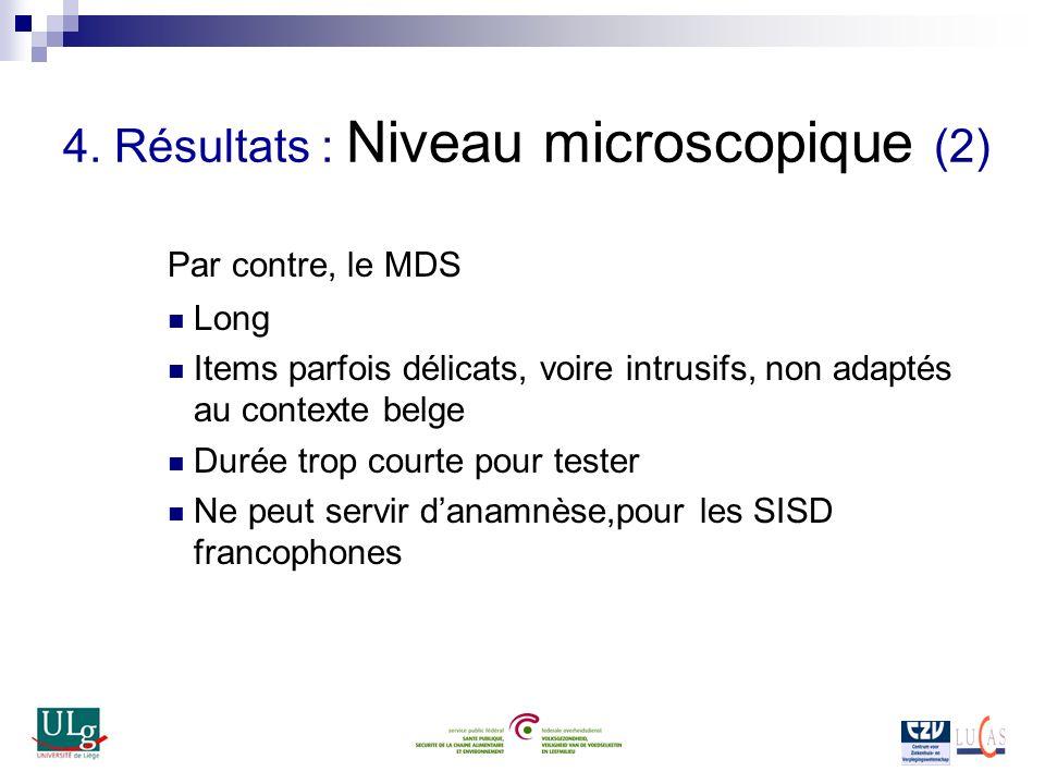 4. Résultats : Niveau microscopique (2) Par contre, le MDS Long Items parfois délicats, voire intrusifs, non adaptés au contexte belge Durée trop cour
