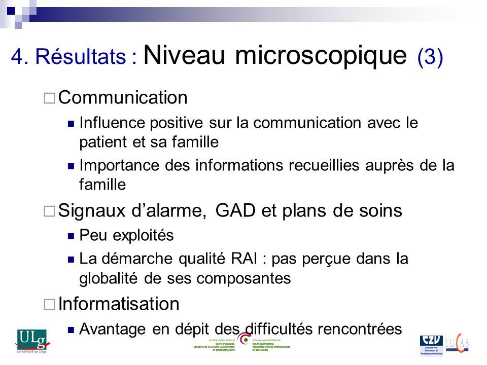 4. Résultats : Niveau microscopique (3) Communication Influence positive sur la communication avec le patient et sa famille Importance des information