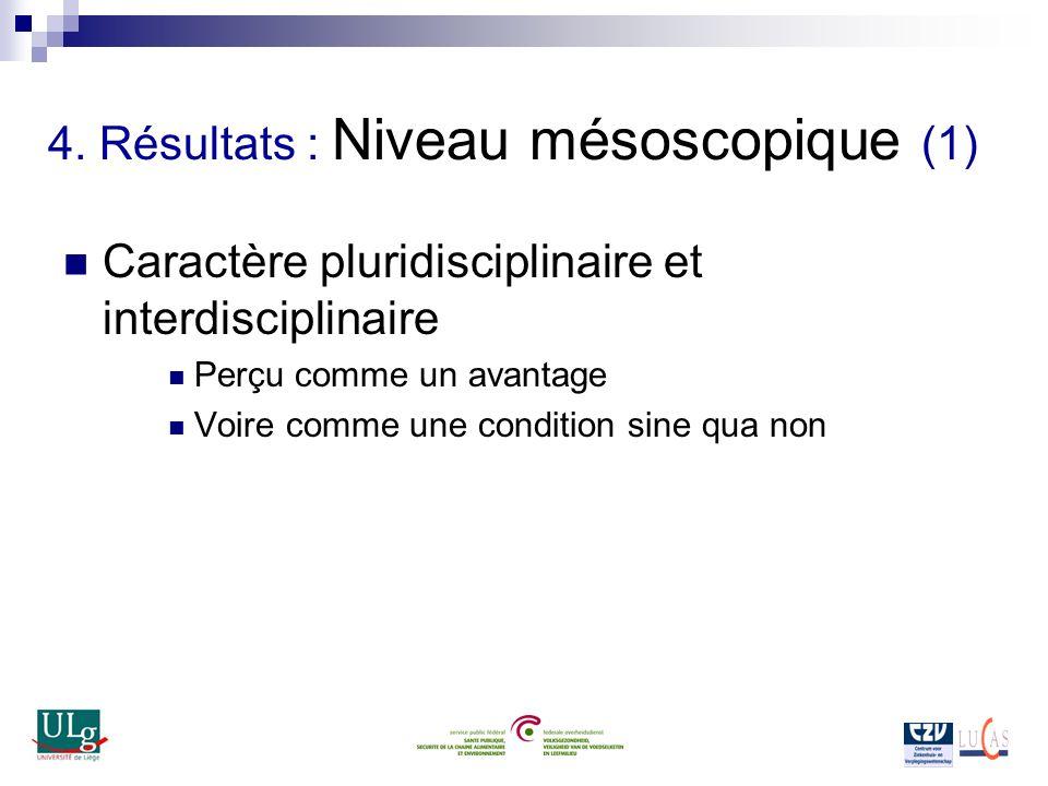4. Résultats : Niveau mésoscopique (1) Caractère pluridisciplinaire et interdisciplinaire Perçu comme un avantage Voire comme une condition sine qua n