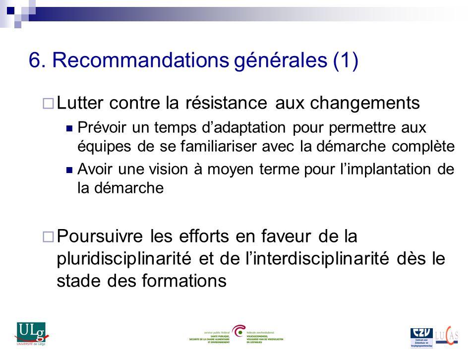 6. Recommandations générales (1) Lutter contre la résistance aux changements Prévoir un temps dadaptation pour permettre aux équipes de se familiarise