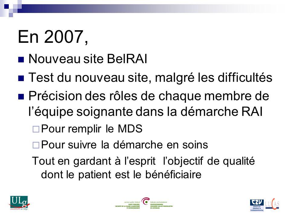 En 2007, Nouveau site BelRAI Test du nouveau site, malgré les difficultés Précision des rôles de chaque membre de léquipe soignante dans la démarche R