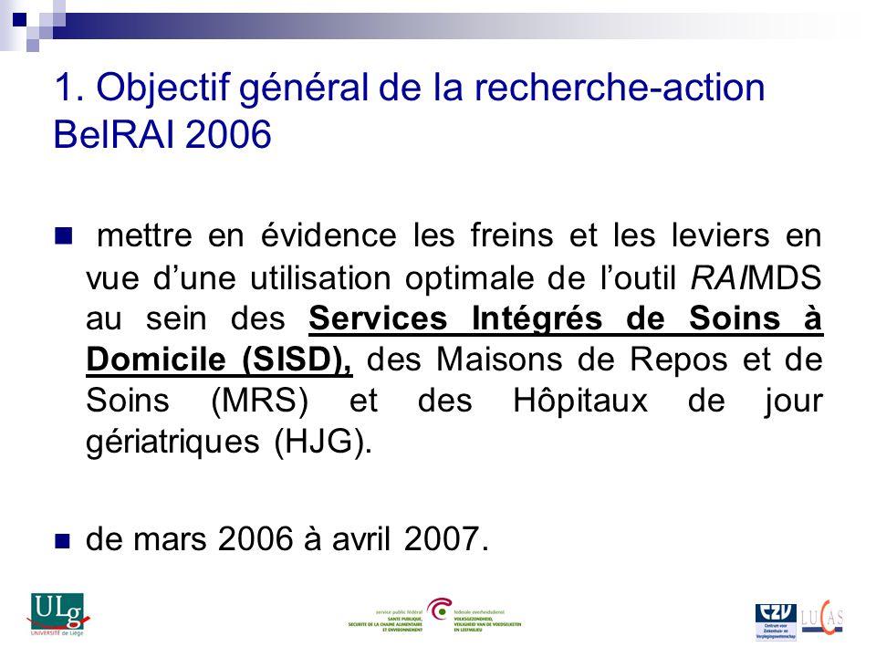 1. Objectif général de la recherche-action BelRAI 2006 mettre en évidence les freins et les leviers en vue dune utilisation optimale de loutil RAIMDS
