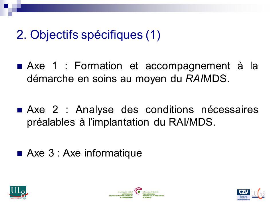 2. Objectifs spécifiques (1) Axe 1 : Formation et accompagnement à la démarche en soins au moyen du RAIMDS. Axe 2 : Analyse des conditions nécessaires