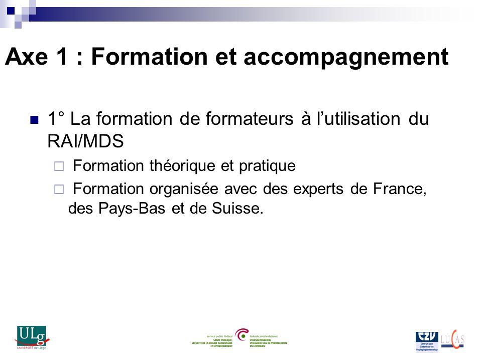 Axe 1 : Formation et accompagnement 1° La formation de formateurs à lutilisation du RAI/MDS Formation théorique et pratique Formation organisée avec d