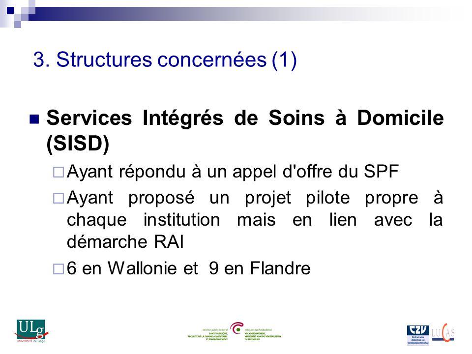 3. Structures concernées (1) Services Intégrés de Soins à Domicile (SISD) Ayant répondu à un appel d'offre du SPF Ayant proposé un projet pilote propr
