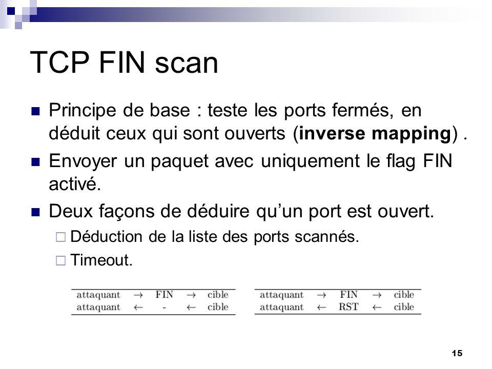 15 TCP FIN scan Principe de base : teste les ports fermés, en déduit ceux qui sont ouverts (inverse mapping). Envoyer un paquet avec uniquement le fla