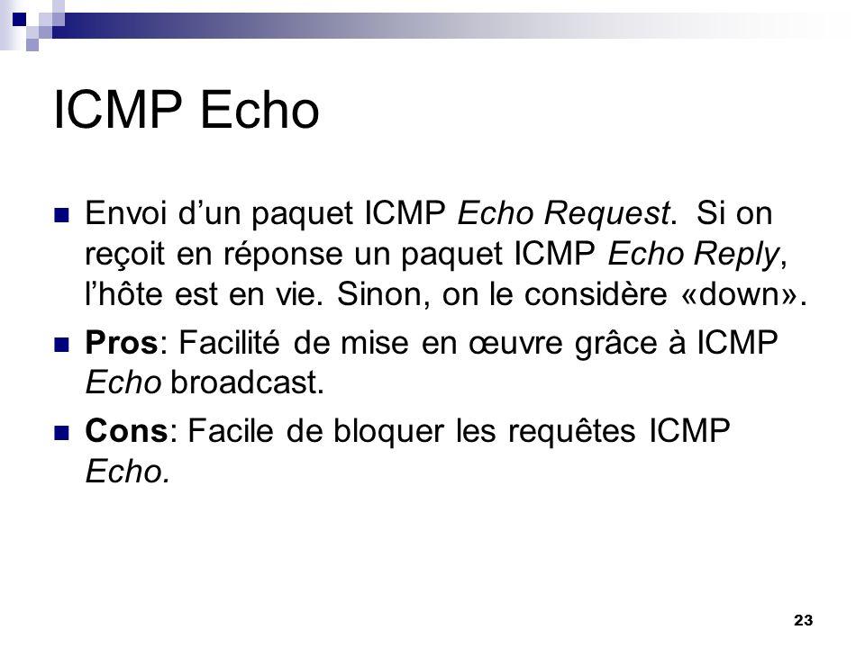 23 ICMP Echo Envoi dun paquet ICMP Echo Request. Si on reçoit en réponse un paquet ICMP Echo Reply, lhôte est en vie. Sinon, on le considère «down». P