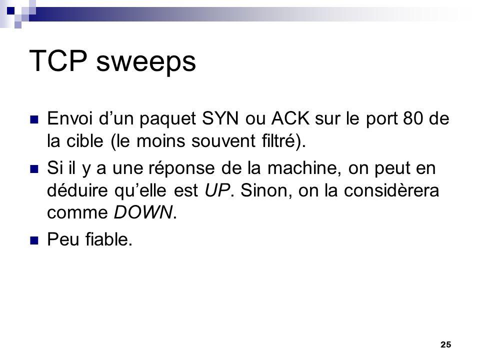 25 TCP sweeps Envoi dun paquet SYN ou ACK sur le port 80 de la cible (le moins souvent filtré). Si il y a une réponse de la machine, on peut en déduir