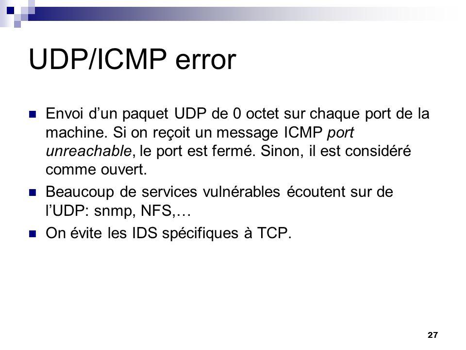 27 UDP/ICMP error Envoi dun paquet UDP de 0 octet sur chaque port de la machine. Si on reçoit un message ICMP port unreachable, le port est fermé. Sin