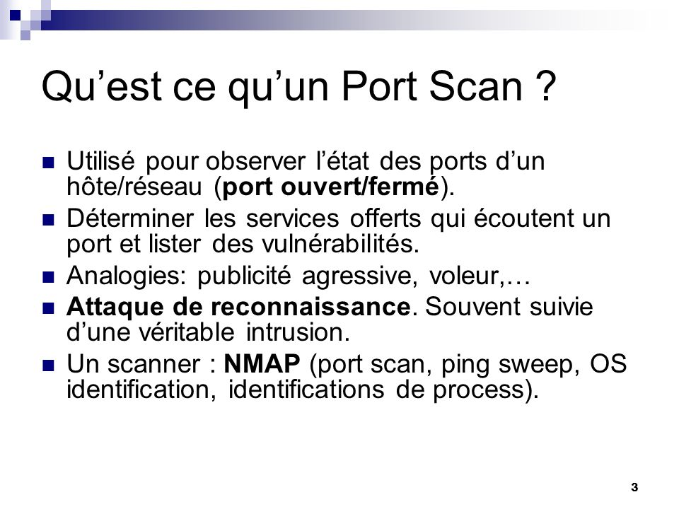 24 Scan type scan open TCP connect() reverse ident half-open TCP SYN scan « dumb » scan stealth TCP FIN scan ACK scan XMAS scan NULL scan sweeps ICMP echo TCP sweeps misc.