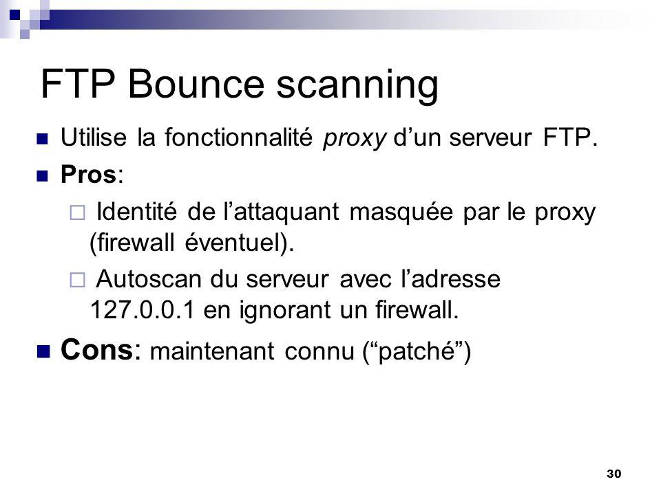 30 FTP Bounce scanning Utilise la fonctionnalité proxy dun serveur FTP. Pros: Identité de lattaquant masquée par le proxy (firewall éventuel). Autosca