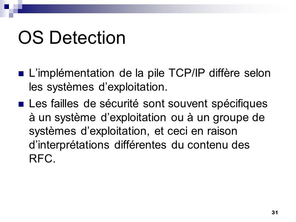 31 OS Detection Limplémentation de la pile TCP/IP diffère selon les systèmes dexploitation. Les failles de sécurité sont souvent spécifiques à un syst