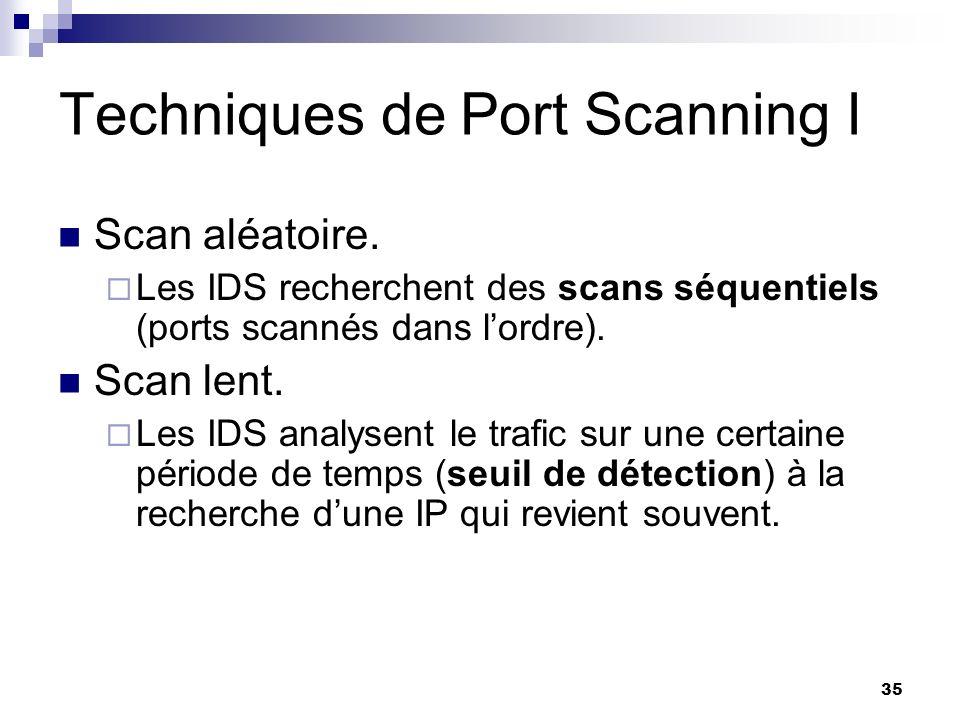 35 Techniques de Port Scanning I Scan aléatoire. Les IDS recherchent des scans séquentiels (ports scannés dans lordre). Scan lent. Les IDS analysent l