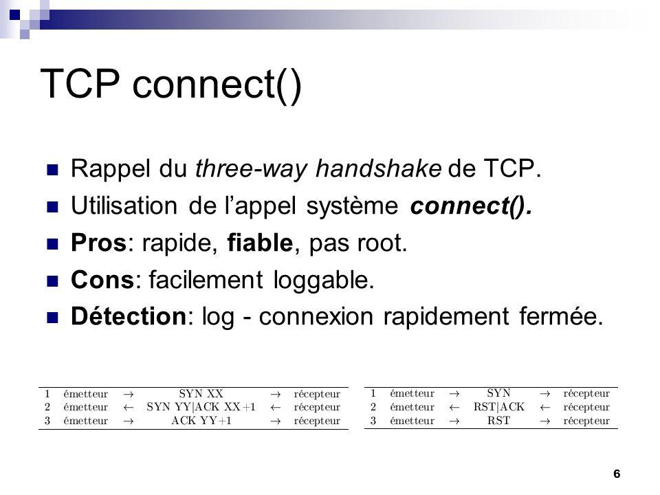 6 TCP connect() Rappel du three-way handshake de TCP. Utilisation de lappel système connect(). Pros: rapide, fiable, pas root. Cons: facilement loggab