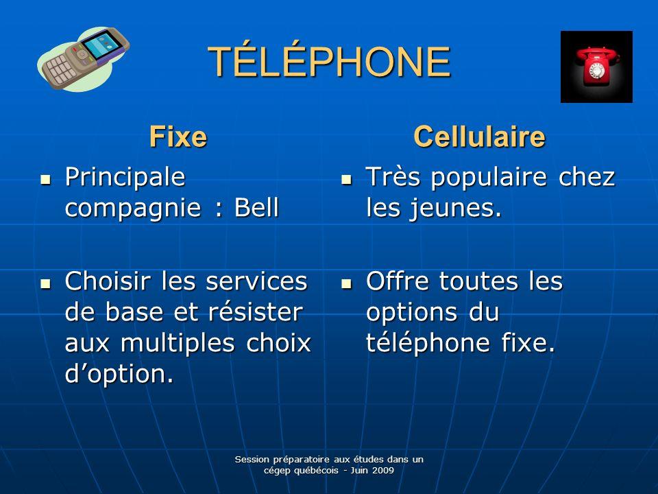 TÉLÉPHONE Fixe Principale compagnie : Bell Principale compagnie : Bell Choisir les services de base et résister aux multiples choix doption.
