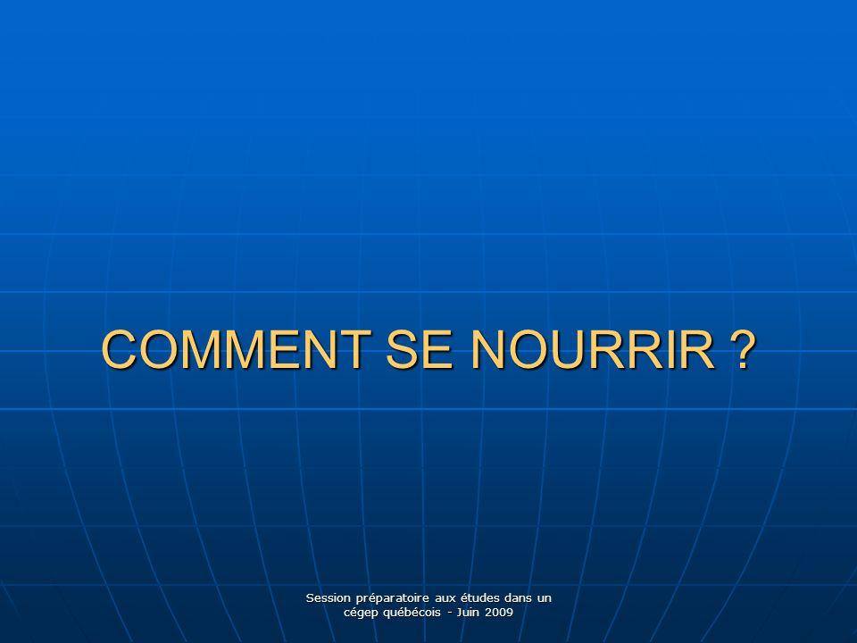 Session préparatoire aux études dans un cégep québécois - Juin 2009 COMMENT SE NOURRIR