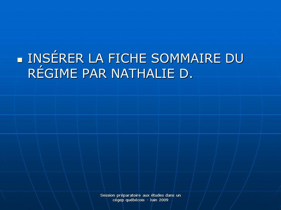 INSÉRER LA FICHE SOMMAIRE DU RÉGIME PAR NATHALIE D.