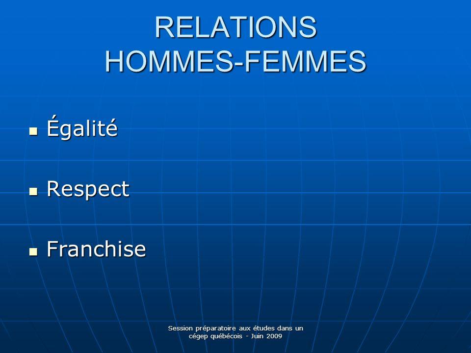RELATIONS HOMMES-FEMMES Égalité Égalité Respect Respect Franchise Franchise Session préparatoire aux études dans un cégep québécois - Juin 2009