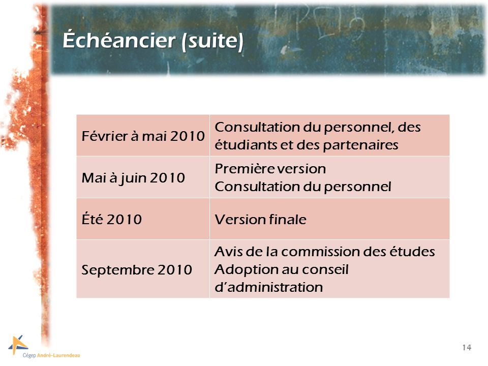 14 Échéancier (suite) Février à mai 2010 Consultation du personnel, des étudiants et des partenaires Mai à juin 2010 Première version Consultation du personnel Été 2010Version finale Septembre 2010 Avis de la commission des études Adoption au conseil dadministration