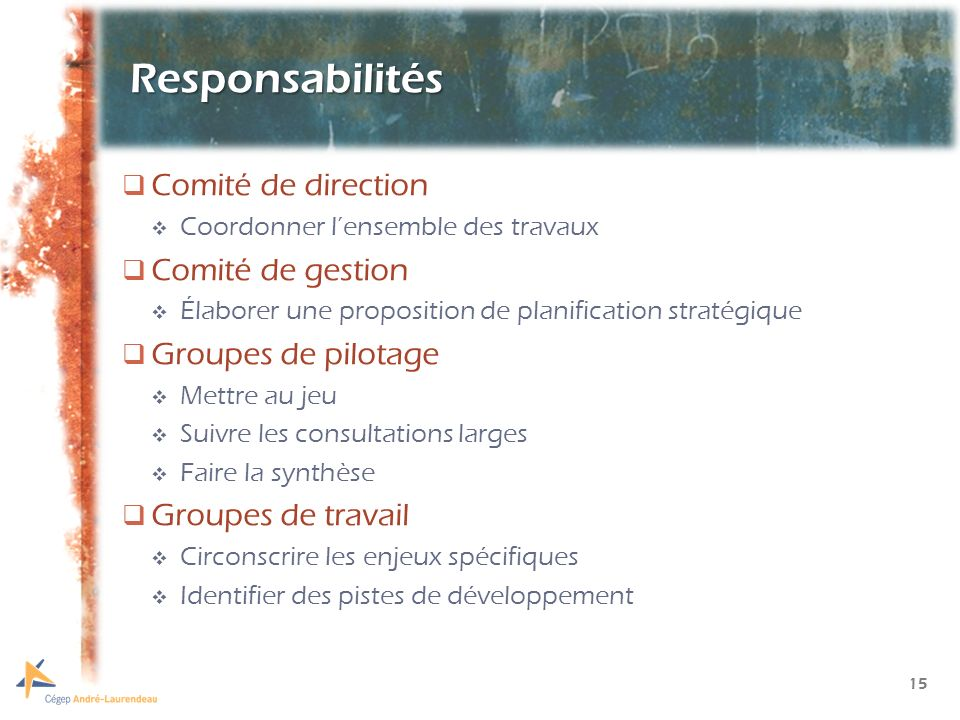 15 Responsabilités Comité de direction Coordonner lensemble des travaux Comité de gestion Élaborer une proposition de planification stratégique Groupes de pilotage Mettre au jeu Suivre les consultations larges Faire la synthèse Groupes de travail Circonscrire les enjeux spécifiques Identifier des pistes de développement