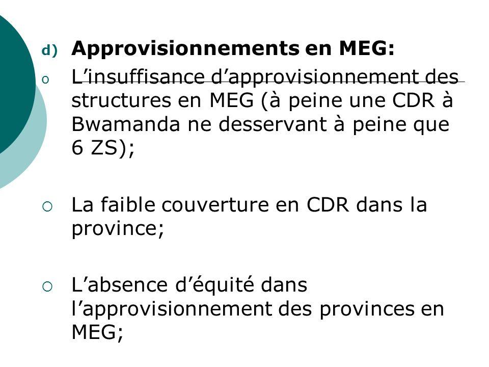 d) Approvisionnements en MEG: o Linsuffisance dapprovisionnement des structures en MEG (à peine une CDR à Bwamanda ne desservant à peine que 6 ZS); La faible couverture en CDR dans la province; Labsence déquité dans lapprovisionnement des provinces en MEG;