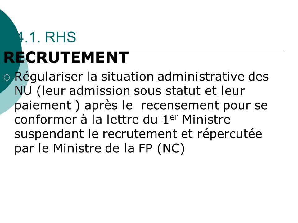4.1. RHS RECRUTEMENT Régulariser la situation administrative des NU (leur admission sous statut et leur paiement ) après le recensement pour se confor