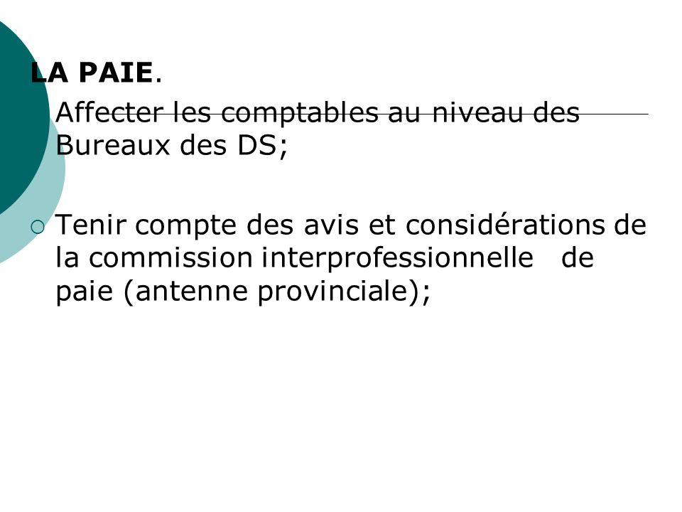 LA PAIE. Affecter les comptables au niveau des Bureaux des DS; Tenir compte des avis et considérations de la commission interprofessionnelle de paie (