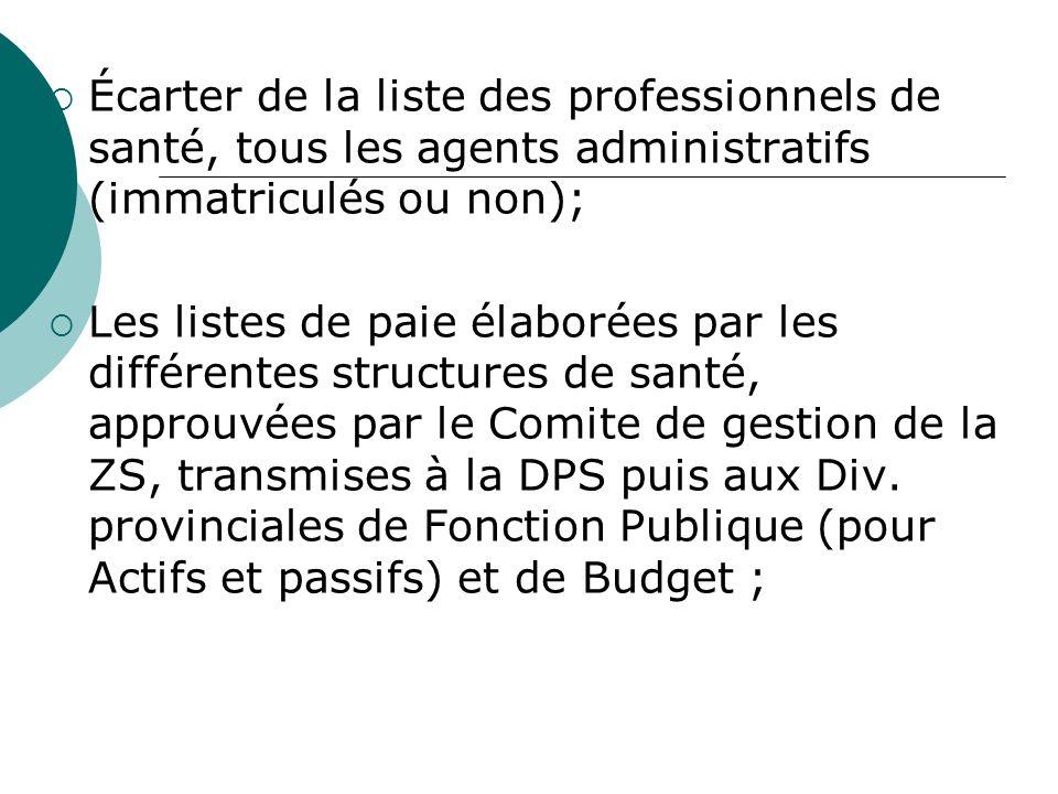 Écarter de la liste des professionnels de santé, tous les agents administratifs (immatriculés ou non); Les listes de paie élaborées par les différentes structures de santé, approuvées par le Comite de gestion de la ZS, transmises à la DPS puis aux Div.