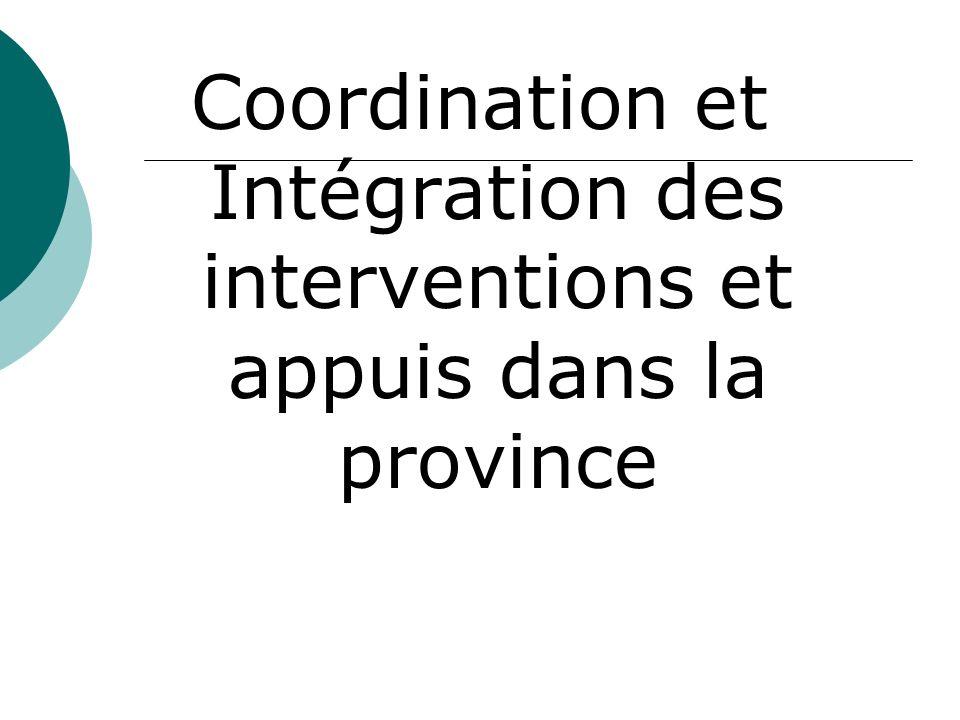 Coordination et Intégration des interventions et appuis dans la province
