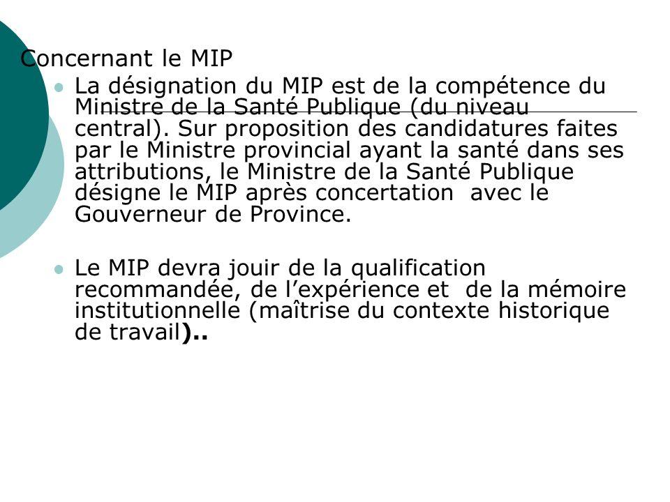 Concernant le MIP La désignation du MIP est de la compétence du Ministre de la Santé Publique (du niveau central). Sur proposition des candidatures fa