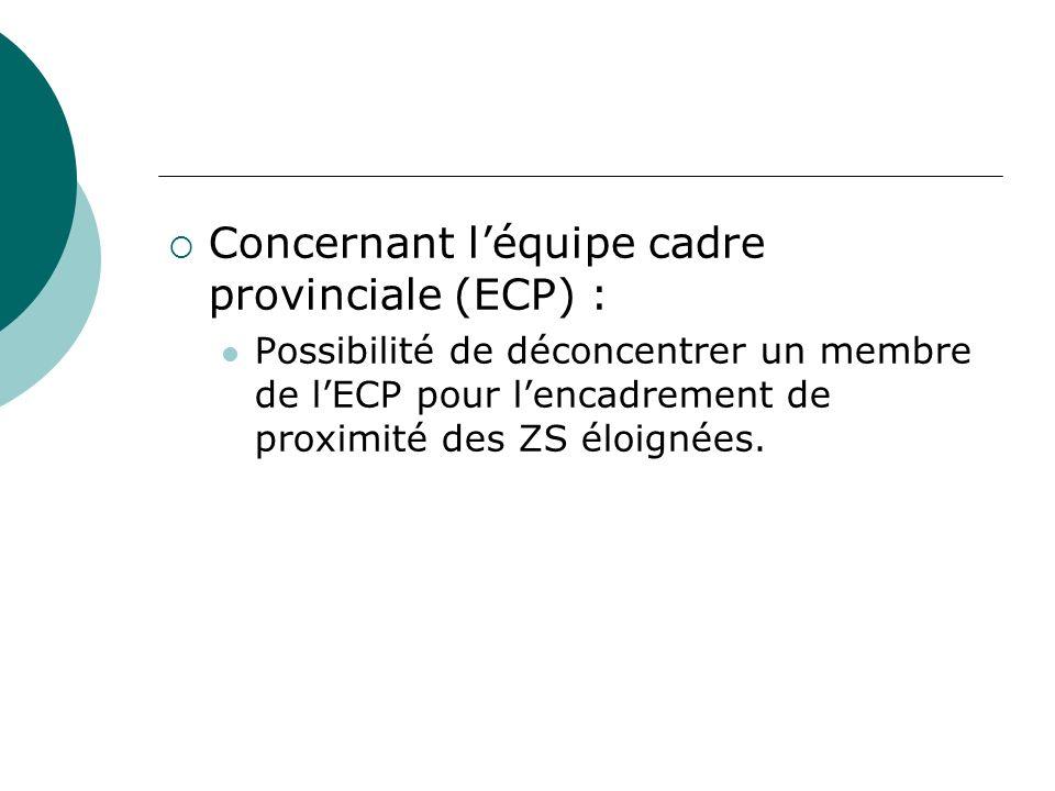 Concernant léquipe cadre provinciale (ECP) : Possibilité de déconcentrer un membre de lECP pour lencadrement de proximité des ZS éloignées.
