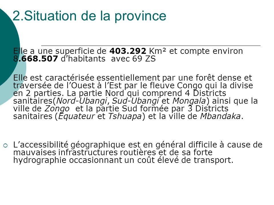 2.Situation de la province Elle a une superficie de 403.292 Km² et compte environ 8.668.507 dhabitants avec 69 ZS Elle est caractérisée essentiellement par une forêt dense et traversée de lOuest à lEst par le fleuve Congo qui la divise en 2 parties.