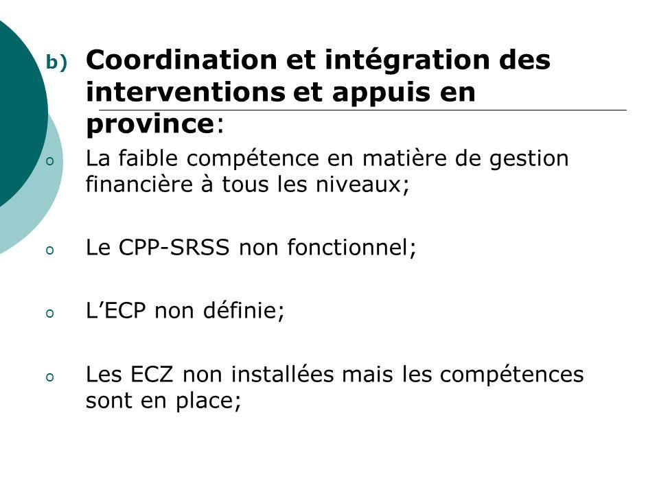 b) Coordination et intégration des interventions et appuis en province: o La faible compétence en matière de gestion financière à tous les niveaux; o Le CPP-SRSS non fonctionnel; o LECP non définie; o Les ECZ non installées mais les compétences sont en place;