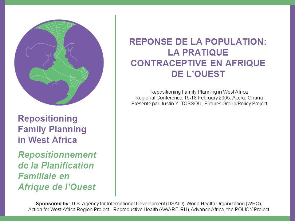 Les différents moyens de contraception Les moyens modernes les plus utilisés actuellement en Afrique de lOuest sont –Les pilules –Les injectables –Les implants –Le DIU –Le préservatif masculin