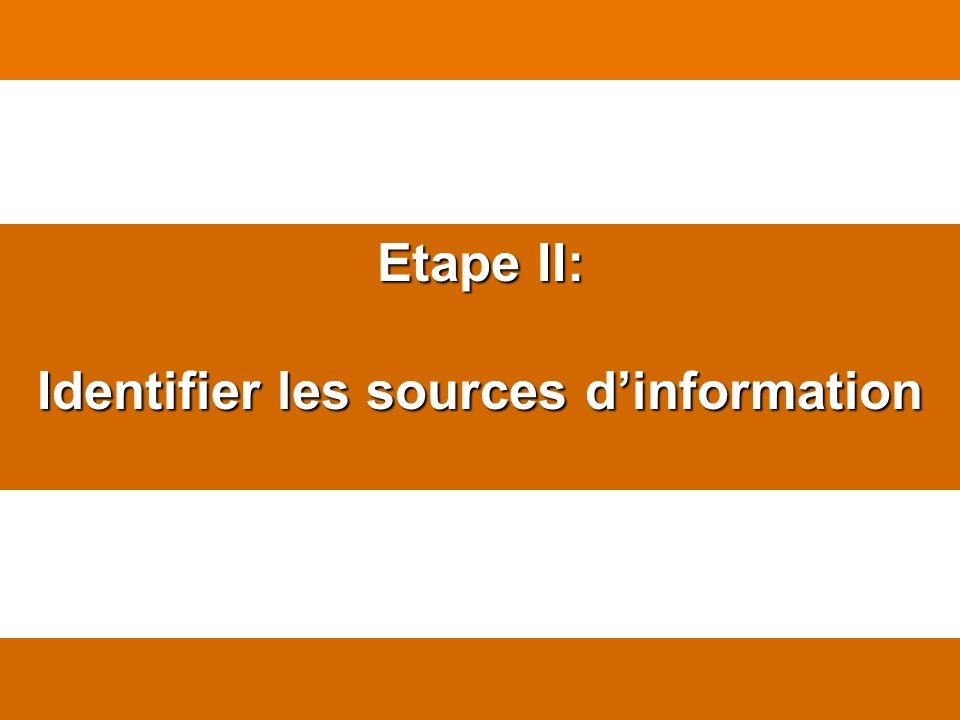 Etape II: Identifier les sources dinformation