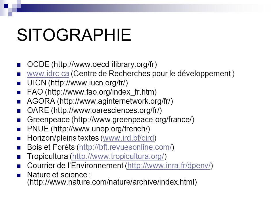 SITOGRAPHIE OCDE (http://www.oecd-ilibrary.org/fr) www.idrc.ca (Centre de Recherches pour le développement ) www.idrc.ca UICN (http://www.iucn.org/fr/